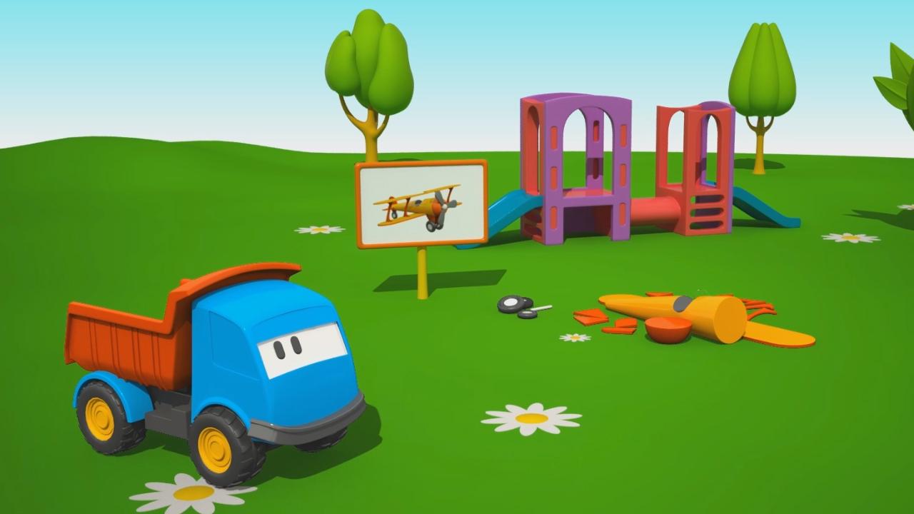 Cartoni animati per bambini u2013 leo il camion curioso e un aereo