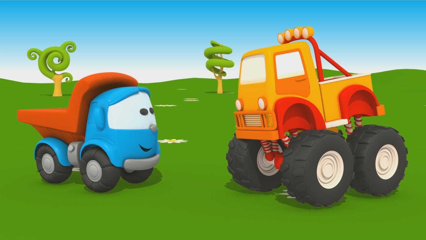 Cartoni animati per bambini u camion leo junior e il monster truck